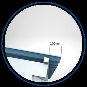 Overhang maksimal 100 mm